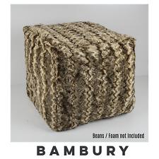 Bambury Faux Fur Ottoman Foot Pouf Cover | Fill with Beans/Foam 43cm MOCHA