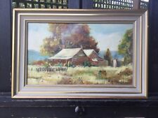Kevin Boucher 1981 Framed cottage Scape Oil Painting