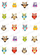 "20 Nail Decals *Summertime COLORFUL OWLS""  Water Slide Nail Art Decals  CUTE"