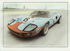 Ford GT40 Gulf le Mans Du Mans 1969  Christopher Dugan Large art Greeting card