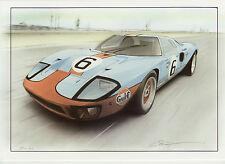 FORD GT40 Gulf Le Mans DU MANS 1969 Christopher DUGAN BIGLIETTO D'AUGURI d'arte di grandi dimensioni