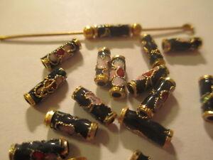 100 Black Cloisonne Enamal Beads 9X3 A+ Quality  TCB