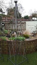 rusted steel metal 2m pea bean lattice pyramid garden plant support obelisk