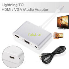 For iphone 5 5S 6 6S 7 7 plus To HDMI VGA Audio TV AV Adapter Cable W/ USB Line