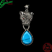 Pear Cab 21x15mm Blue Turquoise Ruby Marcasite 925 Sterling Silver Tiger Pendant