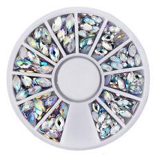 Strass Rondell Kristalle AB oval 100 Stück 2 Größen irisierend Display Nailart