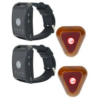 4CH Cafe Wireless Watch Guest Calling Server Paging System 2*Call Button Pagers
