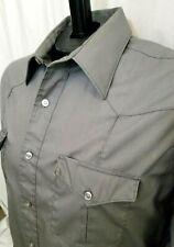 New listing Vtg Wrangler Cowboy Western Shirt Sold Gray Button Down Mens Size 16.5 x 33 Usa