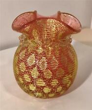 "Murano? 3 1/2"" Vaseline Over Cranberry Glass Vase W/ Ruffled Rim & Adventurine"
