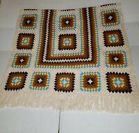 "Unique Handmade Crochet Afghan Chair Throw Multi Square 41.5"" x 62""+Tassel 8"""