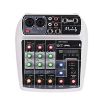 Compact Mixing Console Digital Audio Mixer 4-Channel BT MP3 USB Input White