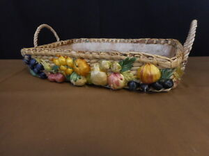Kitschy Woven Straw Basket w Fruit Decorations Flea Market Decor Philippines