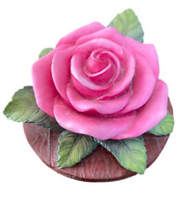 """""""Our America Gift"""" Candle Topper Rose Pink Beautiful Leaves"""