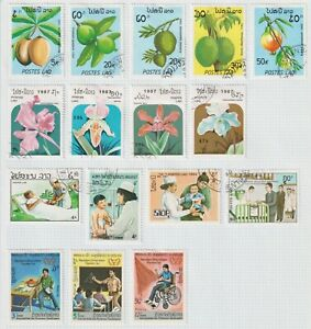 LAOS  Nice lot on Album page Fruit, Flowers, Medical and Disabilities.  (L62).