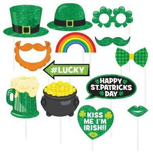 St. Patrick's Day Photo Booth 13 piece Prop Kit Luck of Irish Accessories Amscan