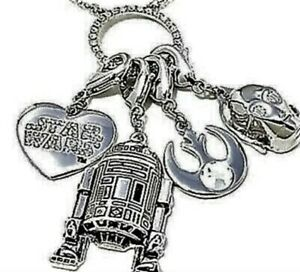 STAR WARS  Necklace with Star Wars R2D2, C-3PO Charms 30 IN CHAIN