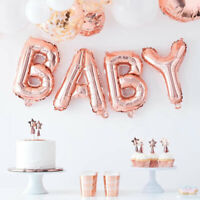 "Rose Gold 16"" Baby Foil Balloon Letters Bunting Oh Baby Shower Party Decorations"