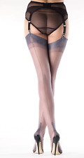 PEWTER Soft GIO Fully Fashioned AUTHENTIC Seamed Stockings CUBAN Heel ALL sizes