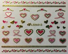 Nail Art 3D Glitter Decal Stickers Sparkle Metallic Hearts w/ Rhinestone LSHA013