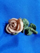 "2"" Pink Peach Rose handcraft silvertone Estate brooch pin unknown material"