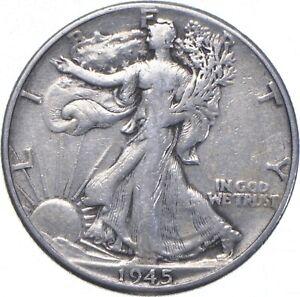 XF+ 1945 Walking Liberty 90% Silver US Half Dollar - NICE COIN *598
