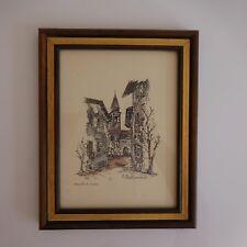 Dessin peinture encre fait main handmade C.BALLIANO 1982 Italie XXe art déco PN