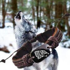 Wolf Braided Leather Bracelet Adjustable Wilderness Nature Wild