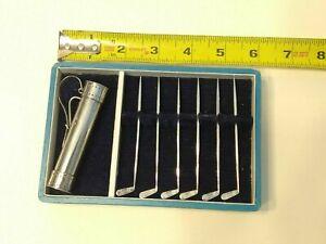 Vintage Sterling Silver .950 Golf Bag, 6 Cocktail Picks, Original Box (Japan)