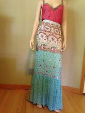 BLUMARINE Silk Chiffon Floral Long Skirt Size 42