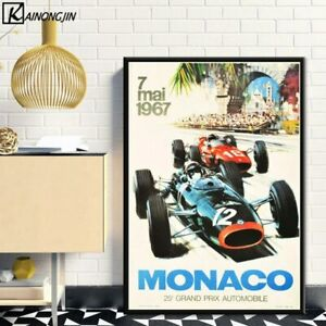 Super Racing Car F1 Monaco Retro Motor Posters Wall Decor Poster , no Framed