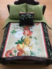 Miniature Dollhouse Bedspread Comforter 3 Pillows 1:12 scale black Floral vine