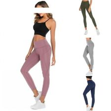 Women High Waist Yoga Leggings Pocket Pants Sport Gym Fitness Workout Athletic D