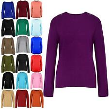 Womens Ladies Knitted 4 Button Long Sleeve Sweater Round Cable Neck Jumper Top