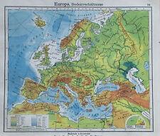 Europa Bodenverhältnisse - alte Karte Landkarte aus 1922 old map