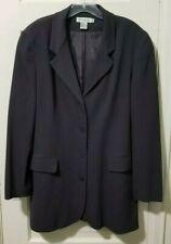 Ann Taylor 100% SILK Suit Blazer Jacket 12 L Large DARK GRAY Lined 4 Button  EUC