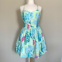 Lilly Pulitzer Womens Size 4 Floral Peacock Dress Strapless Blue Green Cotton