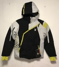 Spyder Granite Snowboard Challenger Boys Jacket, Black Cirrus & Sulfur - Size 14