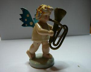 Figurine STEINBACH Ange Bois Musicien Tuba VINTAGE CHRISTMAS Noel GERMANY