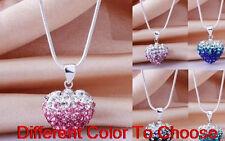 15pc/lot free shipping mixed new heart chain crystal shamballa necklace pendant