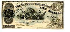 1862  $5  Shreveport. The State of Louisiana .   Civil War Issue.