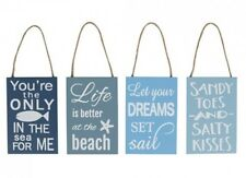 Wooden Shabby Chic Hanging Beach Sign Dreams Sandy Toes Fish in Sea Designs