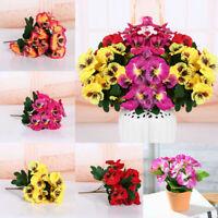 Home Room  Artificial Silk Bouquet Pansy Flower Floral Decor Plant Bunch