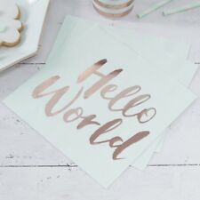 Hello World Baby Shower Party Gender Reveal Tableware Mum to Be Rose Gold MINT Foiled Napkins X 20