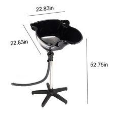 Portable 8L Salon Sink Spa Deep Hair Shampoo Bowl Sink Basin & Drain Tube Black
