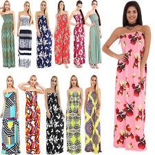 Womens Ladies Strapless Sheering Boob Tube Gather Bandeau Summer Rose Maxi  Dress 2faffd8f7c45
