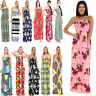 Womens Ladies Strapless Sheering Boob Tube Gather Bandeau Summer Rose Maxi Dress