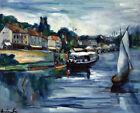Framed canvas art giclee print RIVER EDGE, JULY 14 seascape boats nautical