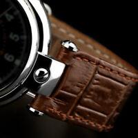 Uhrenarmband braun Poljot Basilika 20mm mit Ausschnitt Alligator Croco Prägung
