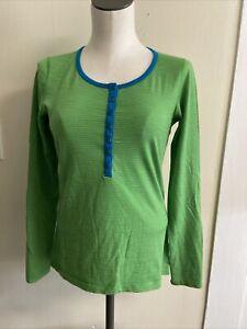 Icebreaker Green Striped Merino Bodyfit 200 Long Sleeve Henley Shirt Size M