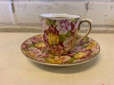 Vintage Colclough China Porcelain English Cup & Saucer Multicolored Floral Dec.